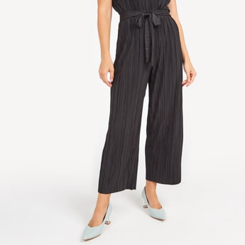 Textured Culottes with Elasticised Waistband and Tie Ups