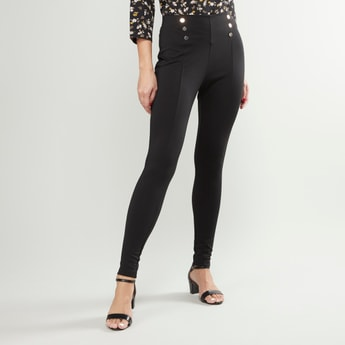 High Waist Leggings with Button Detail and Elasticised Waistband