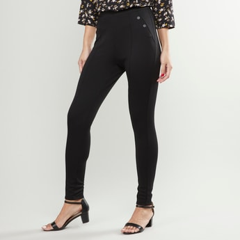 Plain High Waist Leggings with Button Detail and Elasticised Waistband