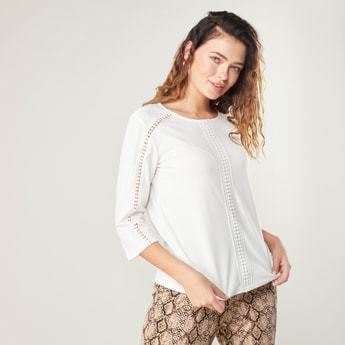 Textured Top with Round Neck and 3/4 Sleeves