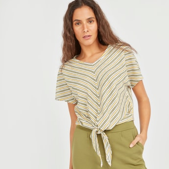 Striped V-neck Top with Short Sleeves and Front Knot Detail