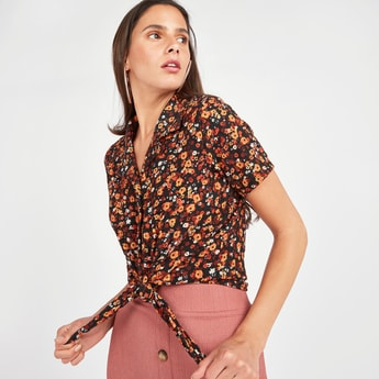 Floral Print Shirt with Spread Collar and Front Knot Detail