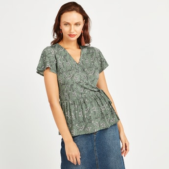 Printed Wrap Top with V-neck and Tie Ups