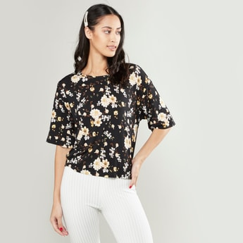 Floral Printed Round Neck Top with Drop Shoulder Sleeves