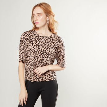 Animal Printed Round Neck Top with Drop Shoulder Sleeves