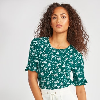 Floral Print Top with Round Neck and Short Sleeves