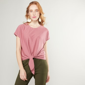 Schiffli Round Neck Top with Short Sleeves and Front Knot