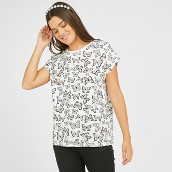 All Over Butterfly Print T-shirt with Round Neck and Short Sleeves
