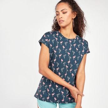 Flamingo Print T-shirt with Short Sleeves