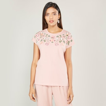 Floral Print Round Neck T-shirt with Short Sleeves