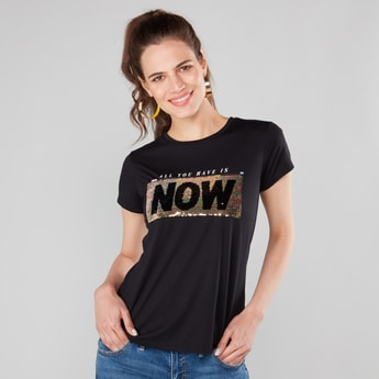 Sequin Embellished Round Neck T-shirt with Short Sleeves