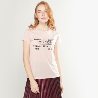 Slogan Print Round Neck Top with Short Sleeves