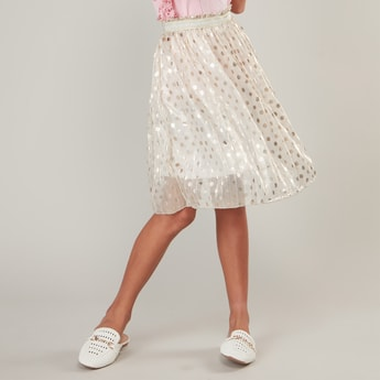 Polka Dots Print Skirt with Elasticised Waistband