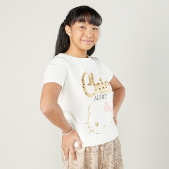 Hello Kitty Printed T-shirt with Short Sleeves