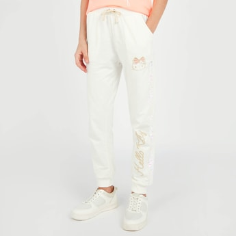 Hello Kitty Print Jog Pants with Pocket Detail and Drawstring