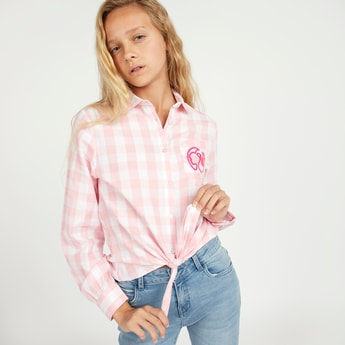 Barbie Check Print Shirt with Spread Collar and Knot Detail