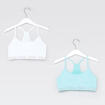 Set of 2 - Assorted Sports Bra with Racerback and Printed Hem