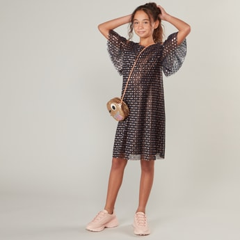 Polka Dot Round Neck Dress with Cold Shoulders and Butterfly Sleeves
