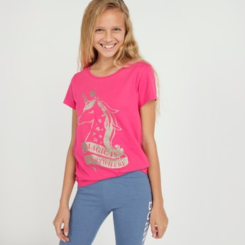 Unicorn Print T-shirt with Short Sleeves