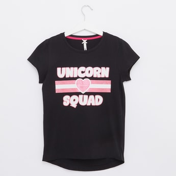Unicorn Print Top with Round Neck and Cap Sleeves
