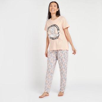 Mermaid Print Short Sleeves T-shirt and Full Length Pyjamas