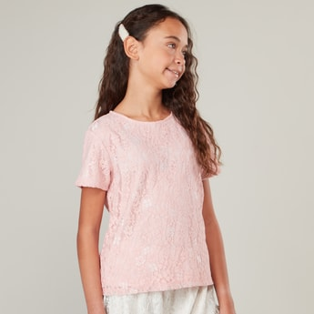 Lace Detail Round Neck Top with Short Sleeves