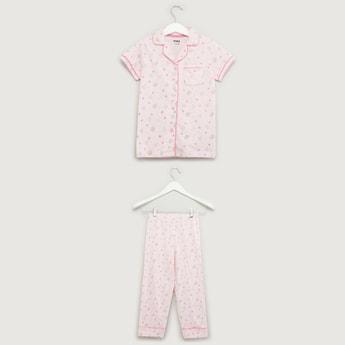 Printed Short Sleeves Sleepshirt with Pyjama Set