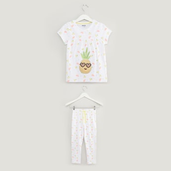 All Over Pineapple Print Short Sleeves T-shirt and Pyjama Set