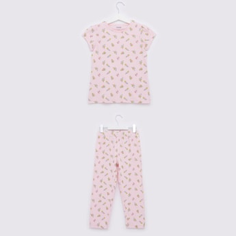 All-Over Print Round Neck T-shirt and Pyjama Set
