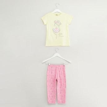 Princess Print T-shirt and Pyjama Set