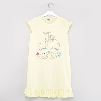 Printed Sleep Dress with Round Neck and Cap Sleeves