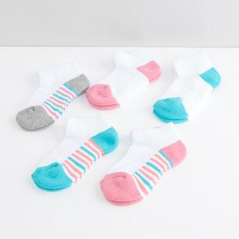 Assorted Colour Block Ankle Length Socks - Set of 5