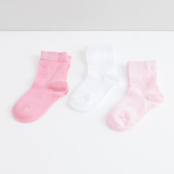 Heart Embroidered Quarter Length Socks - Set of 3
