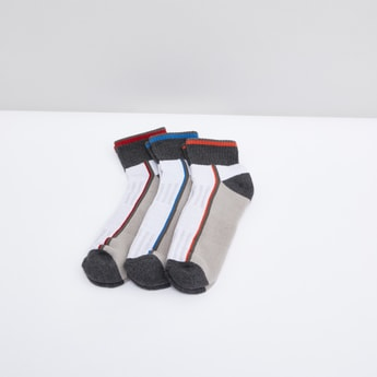 Set of 3 - Printed Ankle Length Colourblock Sports Socks