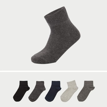 Set of 5 - Solid Ankle Length Socks with Cuffed Hem