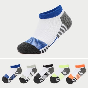 Set of 5 - Striped Ankle Length Socks with Elasticated Hem