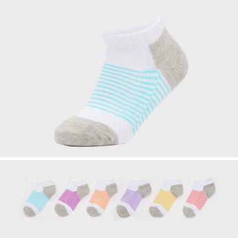 Set of 6 - Textured Striped Sports Socks