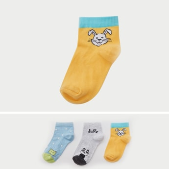 Set of 3 - Printed Ankle Length Fashion Socks