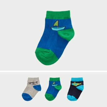 Set of 3 - Printed Ankle Length Socks with Cuffed Hem
