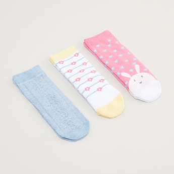 Set of 3 - Assorted Ankle Length Socks with Cuffed Hem