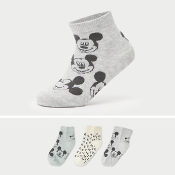 Set of 3 - Mickey Mouse Print Ankle Length Sock