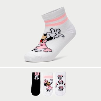 Set of 3 - Minnie Mouse Print Ankle Length Socks