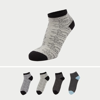 Set of 4 - Assorted Ankle Length Socks with Cuffed Hem