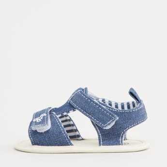 Textured Denim Sandals with Hook and Loop Closure