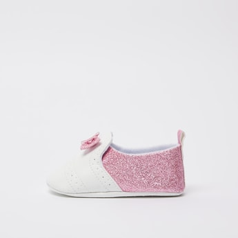 Perforated Booties with Glitter Accent and Bow Applique Detail