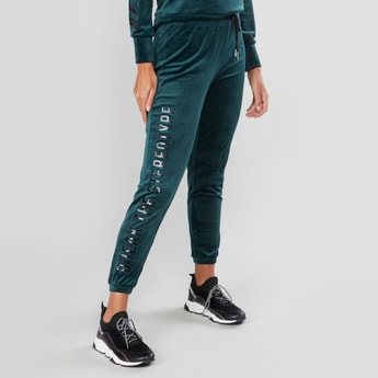 Graphic Printed Jog Pants with Elasticised Waistband and Drawstring