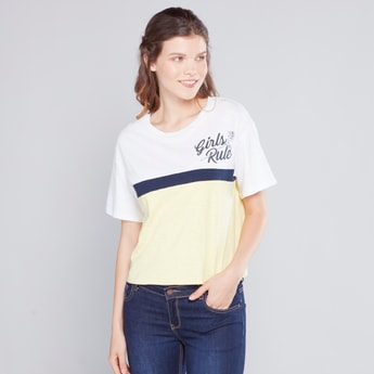 Printed Colour Block Boxy T-shirt with Short Sleeves