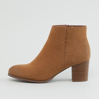 Textured Boots with Block Heels and Zip Closure