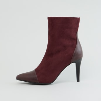 Textured Boots with Pencil Heels and Zip Closure