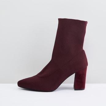 Textured Boots with Block Heels